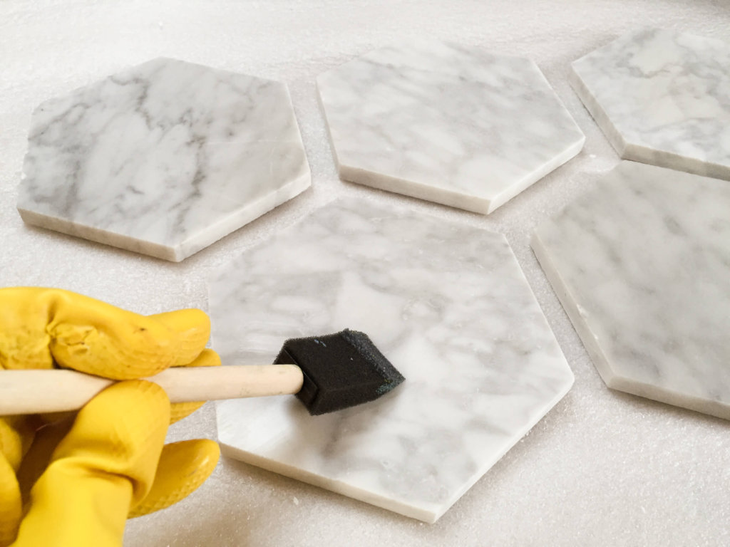 Bathroom Marble Tile Easy Diy Hexagon Carrara Marble Coasters - Merriment Design