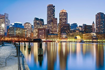 Boston waterfront at dusk