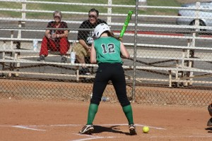 LadyBulldogMinersGame-05-03-16: Bulldog Taylor Barnum steps back from a low pitch in a recent game. Barnum had two hits in the important 3-2 win over Sunrise Mountain on Tuesday afternoon, May 3 in the Dawgs Pound. Photo by Lou Martin.