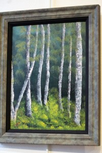 """Barr takes Sponsor's Choice award in gallery exhibit with oil painting titled """"Standing Tall in a Row.""""  Photo by Teri Nehrenz"""