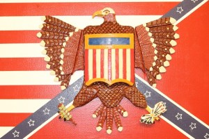 """The Mesquite Fine Art Invitational exhibit is showing through the month of September. This piece of patriotic art is made of clay by artist Kent Lang titled """"United we Stand"""". Photo by Teri Nehrenz"""