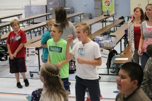 Bowler Elementary School students Drake Wakefield (Baloo) and Kurt Felix (Shere Kahn) show exceptional enthusiasm as they rehearse for the Disney Jr. musical The Jungle Book which will be performed in February 2017.