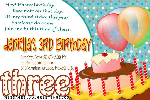3rd Birthday Invitations - 365greetings