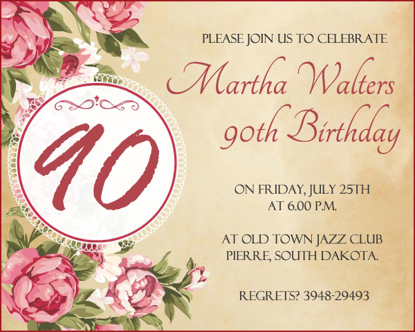 90th Birthday Invitation Wording - 365greetings