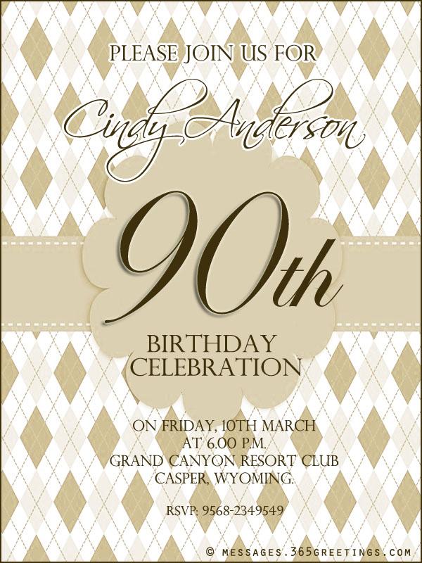 90th Birthday Invitation Wording - 365greetings