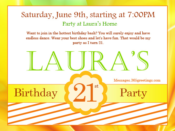 21st Birthday Invitations - 365greetings - birthday invitations sample