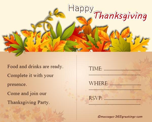 Thanksgiving Invitations - 365greetings
