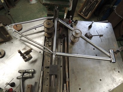 welded frame on alignment table