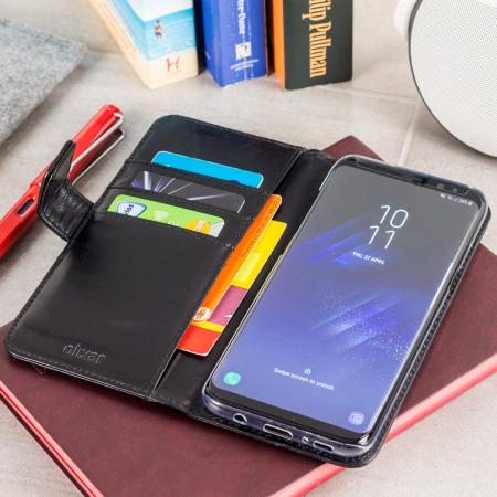 Housse Samsung Galaxy S8 Olixar Portefeuille en cuir véritable – Noire