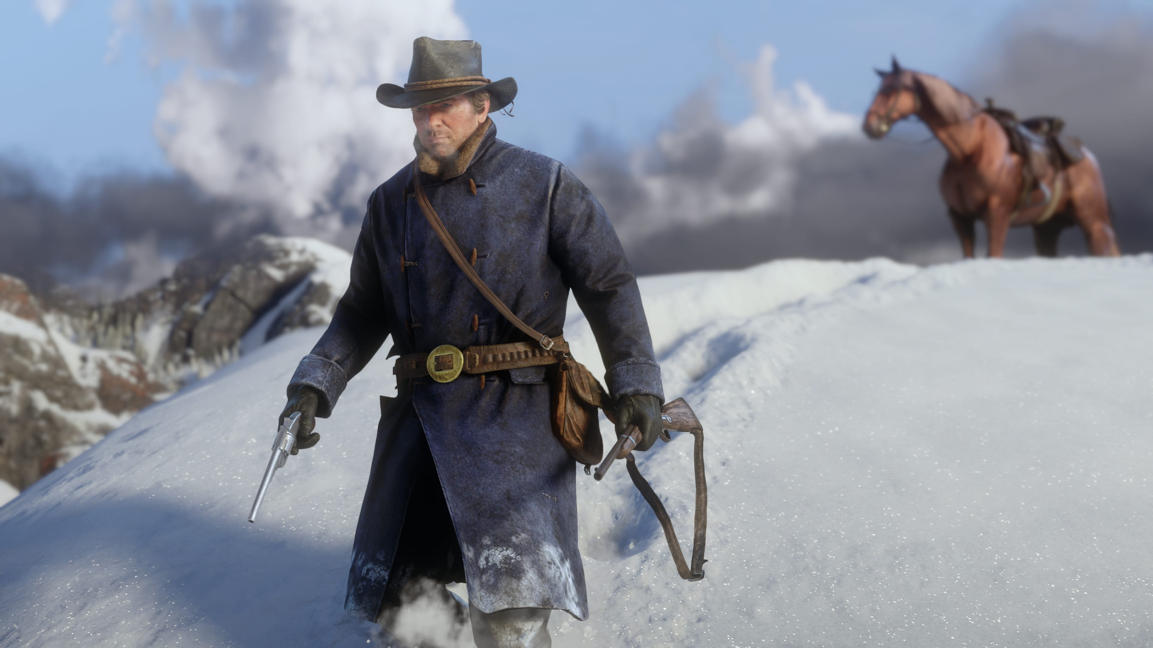 Toutes vos armes seront transportées dans les fonts de la selle de votre monture. Assurez-vous d'emporter les armes dont vous aurez besoin lorsque vous laissez votre cheval.