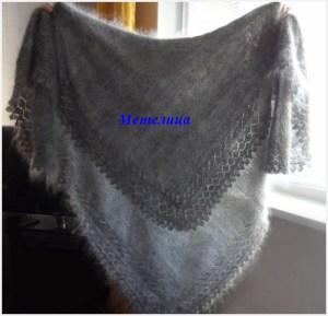 Оренбургский пуховый платок серого цвета