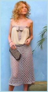Летняя вязаная серая юбка