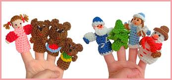 Новогодние вязаные пальчиковые игрушки
