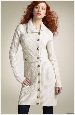 Изысканное вязаное пальто