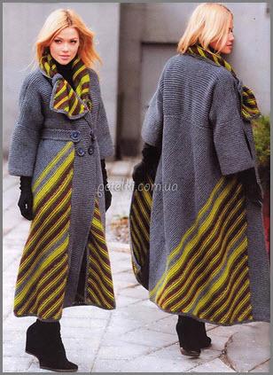 необычное вязаное пальто