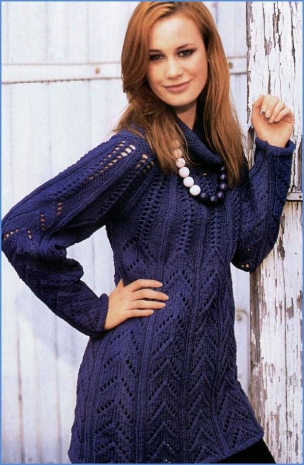 Синяя вязаная туника-платье