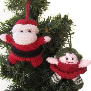 Ёлочные игрушки Санта Клаус и девочка