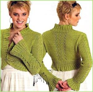Вязаное болеро светло-зелёного цвета