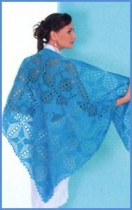 Роскошная голубая вязаная шаль