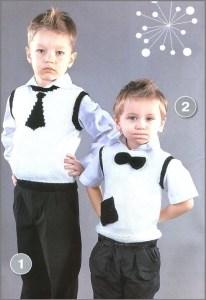 Прикольные мальчишки в вязаных жилетах с галстуками
