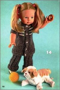 Кукла в модном вязаном костюме