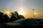 Óptica atmosférica: Tres soles y un arco iris invertido causa temor en China