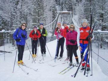 A group of friends pauses for a photo during a recent outing on the free Backyard Ski Day sponsored by the Methow Valley Sport Trails Association and community partners. This year's final free ski day will be Friday (March 14). Photo courtesy of MVSTA