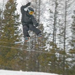 High flyer. Young local snowboarder Merick Johnson catches some air during the sixth annual Loup Loup Slope Style competition at the Loup Loup Ski Bowl last Saturday.Photo by Mike Maltais
