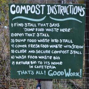 This sign helps the kids remember all the steps for making good compost. Photo by Laurelle Walsh