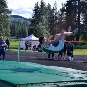 Jake Pennock cleared the bar at 5-08.00 to place second in the high jump. Photo by Laurelle Walsh