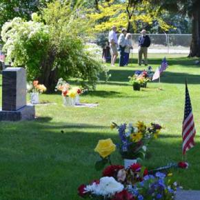 Winthrop's historic Sullivan Cemetery was all decked out in flowers and flags on Memorial Day. Photo by Laurelle Walsh