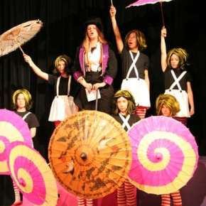 The Oompa Loompas and Wonka (Morgan Tate) perform several musical numbers. Photo by Darla Hussey