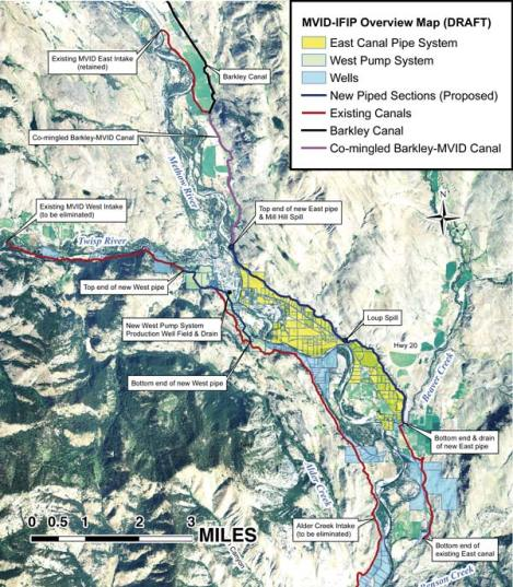 Elements of MVID's Instream Flow Improvement Project. Map courtesy Van Hees Environmental