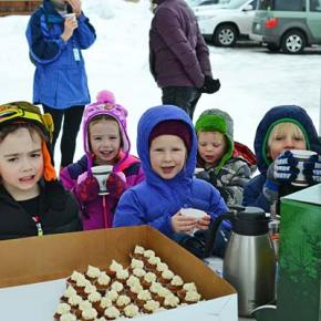 Preschoolers Jennifer Rodrigues, Luke  Gatlin, Bailey Gatlin, Violet Darwood, Finnbarr Humling and Forest Ashford from Little Star Montessori School sampled hot cocoa provided free from Rocking Horse Bakery at Methow Trails' Backyard Ski Day last Friday. Photo by Laurelle Walsh