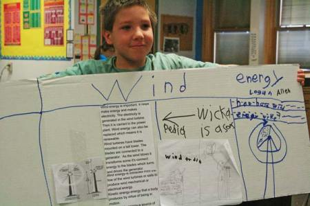 Photo by Marcy Stamper Logan Allen chose to do his project on wind energy because he was curious about how wind turbines work.
