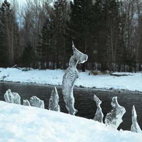 Winter Rorschach test. What do you see in the natural ice sculptures that formed along the Methow River at Mack Lloyd Park in Winthrop? Photo by Laurelle Walsh