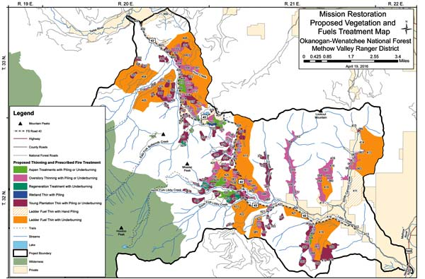 Map courtesy of USFS The Mission Restoration Project covers more than 50,000 acres in the Buttermilk Creek and Libby Creek watersheds.