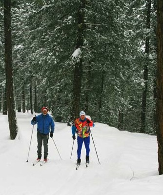"""Photo by Marcy Stamper Local guide Kurt Snover, left, and Joseph Raineri, a blind skier from Bellevue, skied a long loop near Mazama last week. """"I had to keep in mind that I was skiing with a blind person — I needed to remember to pay constant attention,"""" said Snover."""