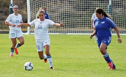 Photo Don Nelson Sally Thornton-White, No. 17, and Danielle Mott, No. 13, were big factors in the win.