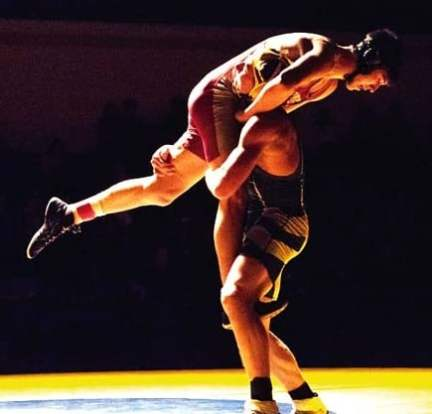 Photo courtesy of Mindy Miller Liberty Bell's Meritt Fink takes an opponent airborne.