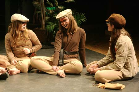 Photo by Marcy StamperFerrets (Melody Langan , left, and Tova Portmann-Bown), along with the ferret captain (Yana Camm), conspire about how to take possession of Toad Hall in Toad's absence.