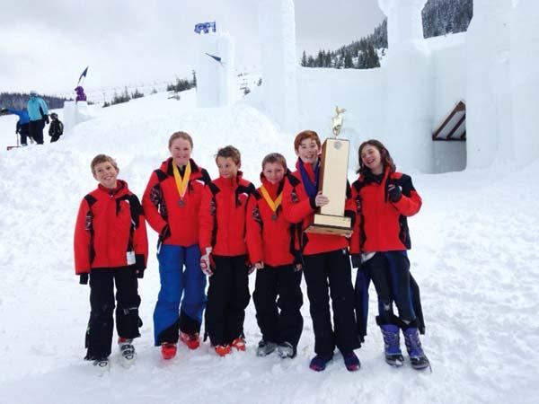 Photo courtesy of Deb Jones-Schuler The Loup Ski Team, from left: Graham Sheley, Sydney Schuler, Carter Sheley, Damon Alumbaugh, Aidan Catlin, Avery Catlin.