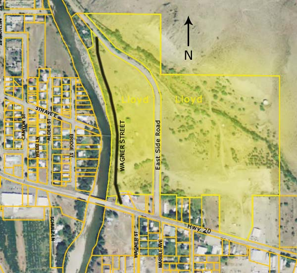 Map courtesy of OccupyTwisp.org A map of the proposed business park property shows the former Wagner Street next to the Methow River.