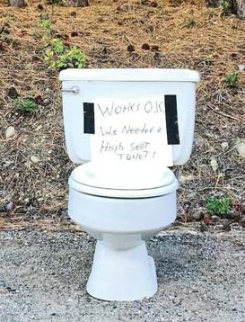 A homeless toilet.