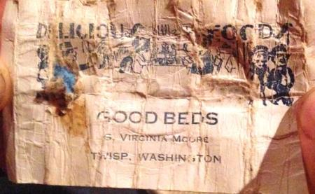 "Photo courtesy of Sara Schrock S. Virginia Moore advertised ""Delicious Foods, Good Beds"" at her Twisp establishment in this 1920s-vintage business card that was discovered in a time capsule."