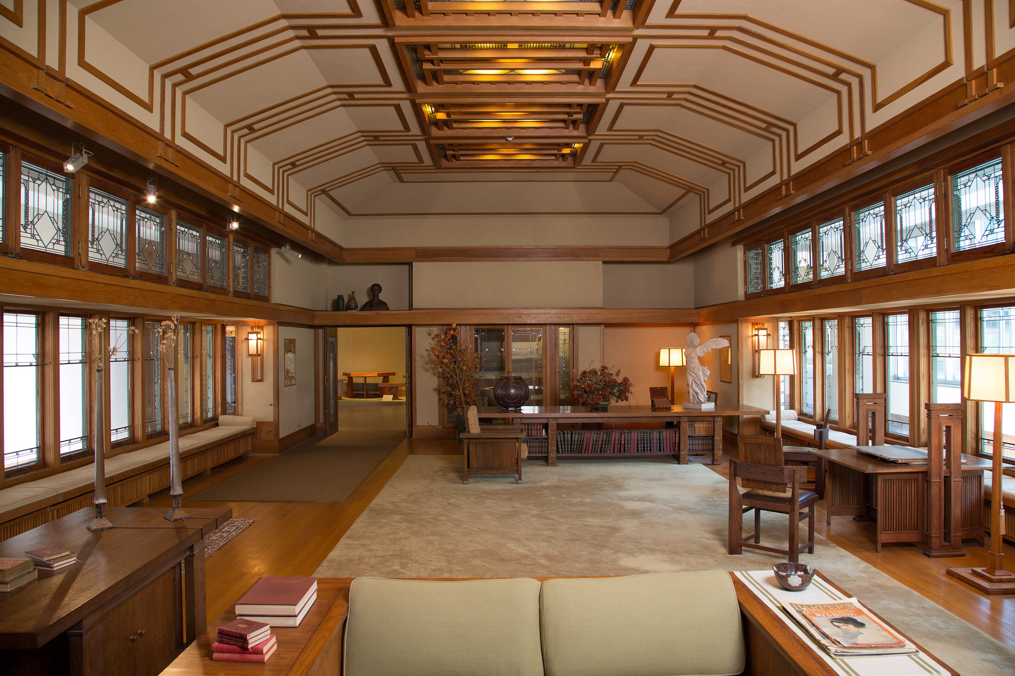 Frank Lloyd Wright Living Room From The Francis W Little House Windows And Paneling