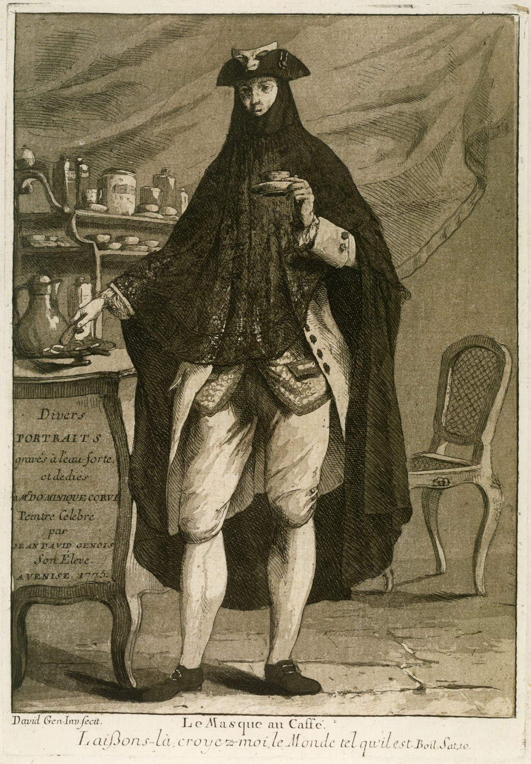 Coffee Art History A Man Wearing A Mask Drinking A Cup Of Coffee Le Masque