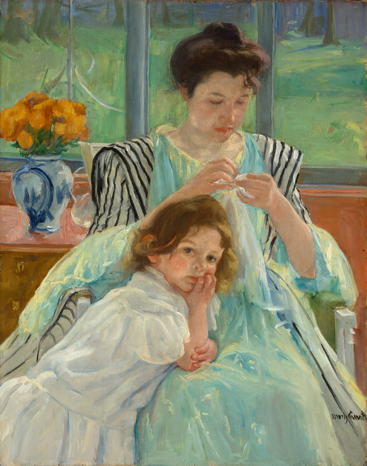 Cuadros Moma Young Mother Sewing Mary Cassatt 29 100 48 Work Of