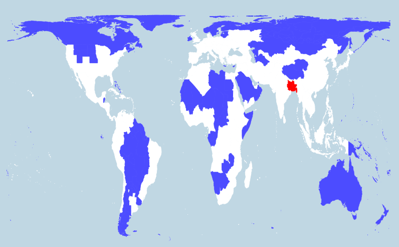 on different map of the world