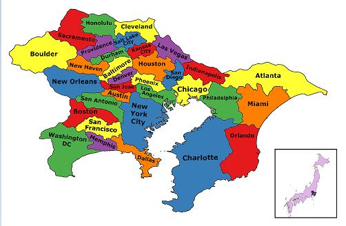 Tokyo population density map